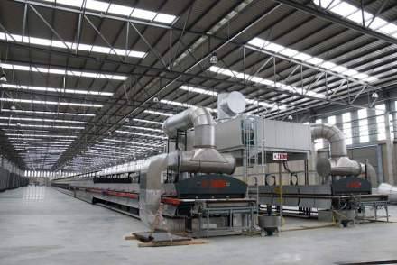 """Engineered Stone is produced in large plants exposing stone powder and resin to heat and pressure. The photo shows the new factory for the material called """"Dekton"""" of Cosentino Group in the Almeira province, Spain."""