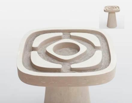 """In """"Giardino all'Italiana"""" Matteo Ragni si è ispirato nella creazione di parchi barocchi. L'oggetto può servire come tavolino da caffè, essere riempito di sabbia o diventare un giardino giapponese di pietre."""