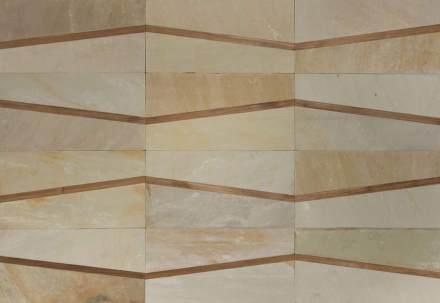 Il materiale sono dei tipi di ardesia chiara o scura. A questi si aggiungono dei listelli stretti in legno, acciaio, vetro o cuoio.