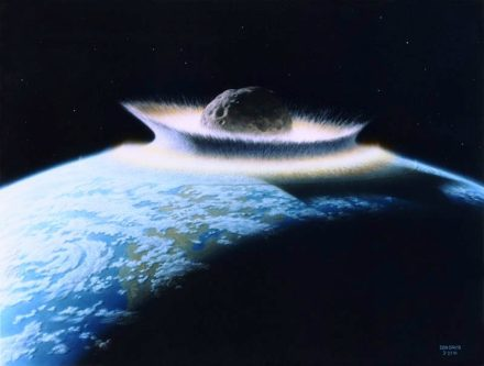 An asteroid impacts the Earth. In order to prevent such a catastrophe, researchers are looking to fire satellites at these heavenly bodies as they approach.  Rendering: Donald Davis