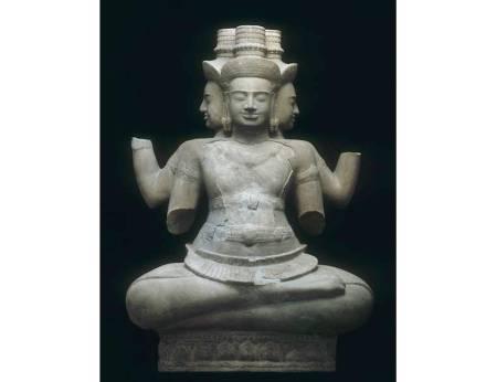 Brahma Deity, early 10th century a.D. proximity of Vat Baset, sandstone.