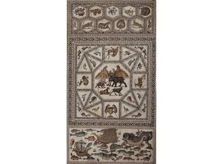 Der Mosaikboden aus Lod, bestehend aus drei Paneelen.