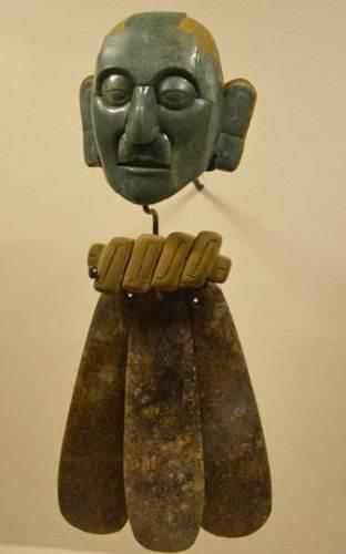 Máscara del cinturón ceremonial de Pakal. Jade. Palenque, Chiapas.