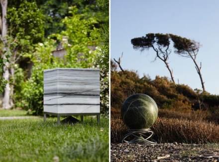 "Architettura Sonora: ""Cube"", Zebrino marble (left); ""Sphere"", Rainforest marble (right)."