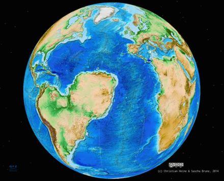 So würde die Südhalbkugel heute vielleicht aussehen, wenn sich  Afrika entlang des Westafrikanischen Grabensystems gespalten hätte: sein nordwestlicher Teil, die heutige Sahara, wäre Teil von Südamerika. Abb.: Sascha Brune/Christian Heine