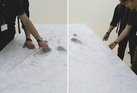 "Zaha Hadid für Citco: ""Moon Table"", Marmor Bianco Carrara. Fotos: Peter Becker"
