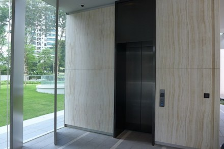 The foyer is equipped with end matched onyx slabs. Photo: M&G Contracts