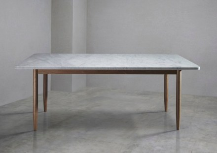 "Bethan Grey, Lapicida: ""New Brogue Table Collection"", dining table, Carrara marble."
