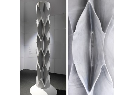 "Raffaello Galiotto: ""Crio"". The classic grooved column is reinterpreted by processing by a diamond disk and milling lathe. The disk sinks into the marble following paths that are not parallel to the cutting axis. In this way it models the material and brushes the surface, generating complex and deep forms with a high degree of finish. Produced by Odone Angelo, Vercelli, Italy; material: Bianco Carrara marble by GBC Marmi, Pietrasanta (LU), Italy; machine by Breton, Castello di Godego (TV), Italy; model machine: ShapeMill."