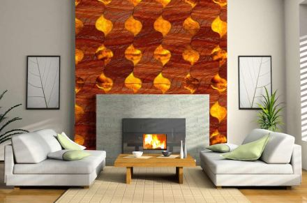 "Laura Camelin, Francesco Visentin: ""Blaze"". Back-lit tiles, colored and structured to emulate fire."