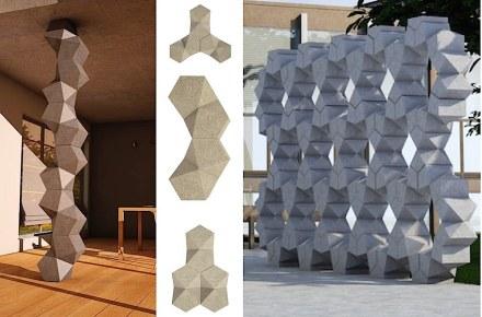 """Manuel Bernardini, Nadal Loïc: """"Exagon"""". Das Element mit komplexer Form erlaubt es, verschiedenartige Mauern oder Säulen zusammenzusetzen."""