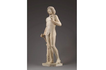 Art history reveals that Adam, though created after the image of God and carved as a copy of the Classical Antique show-of-strength, what with the apple of the Garden of Eden in hand was nevertheless depicted in an insecure pose holding tight to a twig.