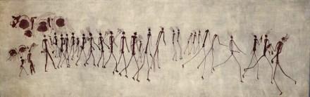 Felszeichnung aus der Massimbura-Höhle, Zimbabwe, danach angefertigtes Aquarell von Elisabeth Mannsfeld (1929).