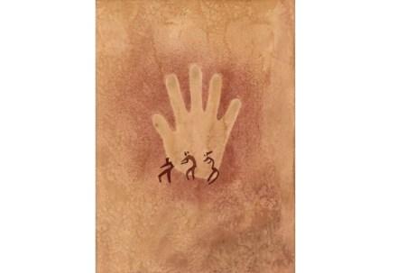 Felszeichnung aus dem Wadi Sura des Gilf el-Kebir, Ostsahara, danach angefertigte Zeichnung von Elisabeth Pauli (1933).