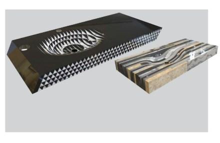 """2° Premio, Categoría Profesionales: """"Op"""", Nazmiye ÖZTÜRK. Se trata menos de un producto que de una idea para la producción: fragmentos de piedra natural se pueden pegar entre ellos y, a partir de este nuevo bloque, se pueden elaborar productos."""