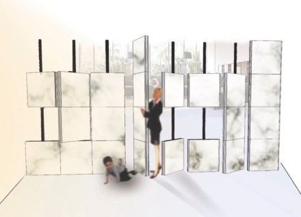"1. Prize, Students' category: ""Dividewall"", Hilal KURT. Room-divider as a mobile folding-screen."