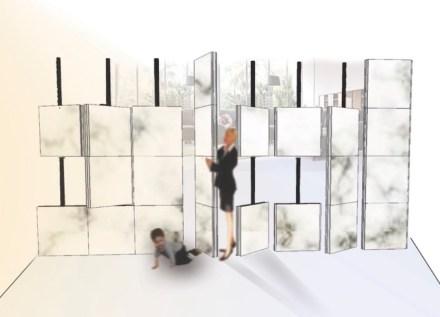 "1. Preis, Kategorie Studenten: ""Dividewall"", Hilal KURT. Raumteiler als bewegliche Marmorwand."
