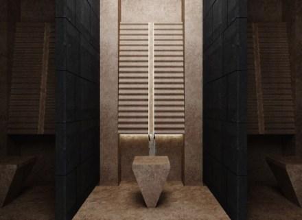 """2° Premio, Categoría Estudiantes: """"Kaynak"""", Ufuk PEHLIVAN. Sala de oraciones para un centro comercial o un hotel: espacio para las abluciones rituales."""