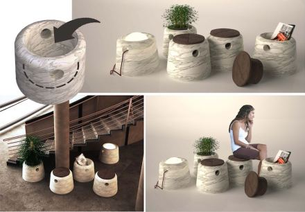 """3. Prize, Students' category: """"Cubo"""", Kardelen ALPTEKIN. Portable stone cooking area for multiple use."""