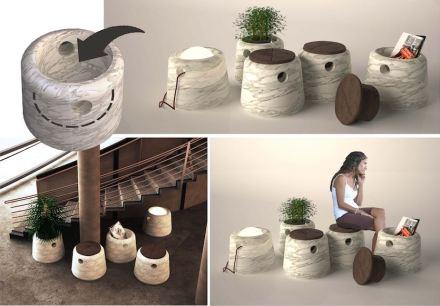 """3. Preis, Kategorie Studenten: """"Cubo"""", Kardelen ALPTEKIN. Tragbare Steintöpfe für vielfältige Verwendungen."""