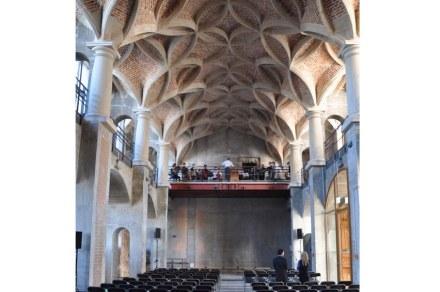 Das Foto zeigt eines der nominierten Projekte, die Rekonstruktionsarbeiten am Schlingrippengewölbe in der Dresdener Schlosskapelle.