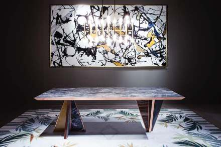 "Citco-Privé: ""Keope"". Product: table. Measures: 250x100x74h cm. Material: marble Cipollino top, polychrome marbles base, satin copper outlines."