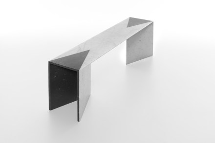 "E.g. the legs of the table bearing the name ""Closer"": These are slabs of stone fused in an acute angle and mounted as table-legs at either end of the table."