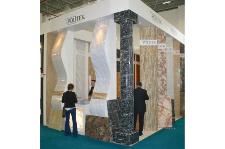"Politek Banyo: ""Decoratif Panel"", auf der Messe Marble in Izmir. Foto: Peter Becker"
