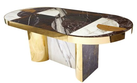 "Lara Bohinc, Lapicida: ""Half Moon"", dining table. Dimensions: L1800 x W900 x H720mm. Price from: £22,500. Marbles featured: Black & Gold, Verdi Guatemala, Picasso, Calacatta, Red Wine, Monclair."