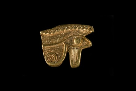 The wedjat-eye of Horus, Ptolemaic Period, Thonis-Heracleion, Aboukir Bay, Egypt. This pendant amulet is the image of the eye of the falcon god Horus, son of Osiris, wounded by his uncle the god Seth, and healed by the powers of the ibis god Thoth. The wedjat, or full eye, is also the symbol of the full moon whose disk becomes a full circle over the course of 14 days, and the symbol of the reconstitution of the body of Osiris, hacked into 14 parts (for the 14 days of the waxing moon). The eye of Horus, symbol of the healing of wounds and the reconstitution of the body is an extremely widespread and popular amulet.