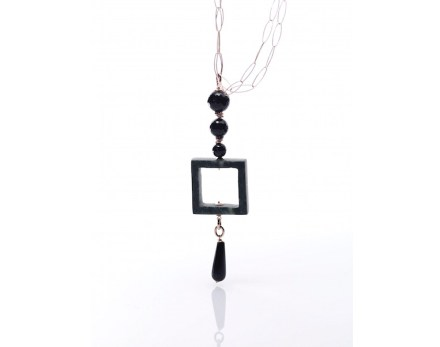 Necklace in Green Valle D'Aosta Marble and black semi-precious stones.
