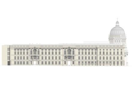 Die Fassade auf der Seite zum Lustgarten.