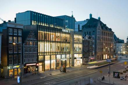 Vertical lines determine the façade of the new commercial complex by the name of Rokin Plaza in the Center of Amsterdam's historic city center.