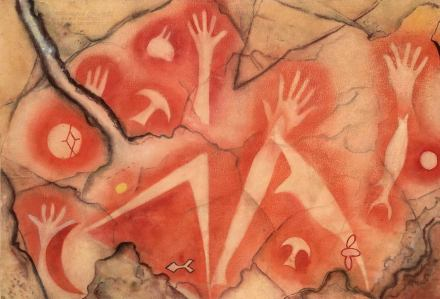 """""""Handsilhouetten, Fische und Mond"""". Indonesien, Westpapua, Tabulinetin, 500-1500 n.Chr., Aquarell von Albert Hahn, 1937, 65 x 95 cm."""