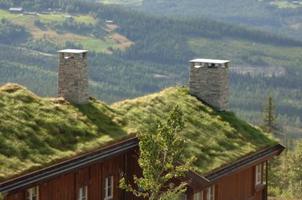 Chaminés de ardósia na Noruega.