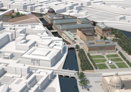 Die Berliner Museumsinsel mit der James-Simon-Galerie.