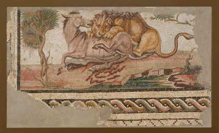Mosaic of a Lion Attacking an Onager, found near Sousse, Tunisia, 5th - 6th century, 196.9 × 115.5 × 7.3 cm (77 1/2 × 45 1/2 × 2 7/8 in.)