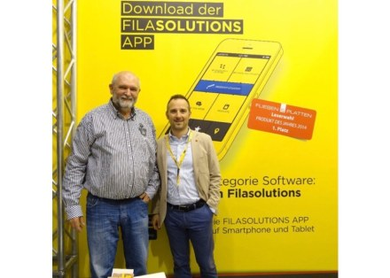 Detlev Hill (left), one of the developers of the SCM Staincheck Method, and Francesco Pettenon, director of sales at Fila world-wide.