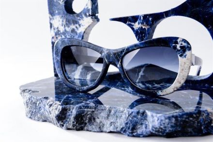 Blue Sodalite is a new stone used in the collection of Italian Morà Eyewear company. Photo: Morà Eyewear