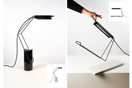 """""""Carrière & Lizzatura"""" nannte Laurent Divorne seine Lampen mit einem Marmorfuß und Stahlgestänge. <a href=""""http://novgallery.com""""target=""""_blank"""">NOV Gallery</a>. Spazio Rossana Orlandi."""