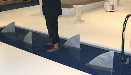 "Objects made of stone for everyday usage permanently appeal to their owners by shouting ""Look at me how beautiful I am"". That is pure promotion. The shark fins on the photo are door stoppers designed by James Irvine for <a href=""http://www.edizioni.marsotto.com/en/products/accessories/1111/squalo""target=""_blank"">Marsotto Edizioni</a>."