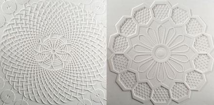 "Marella Ferrera, Lithea: ""Filet"". Bianco Fenice marble."