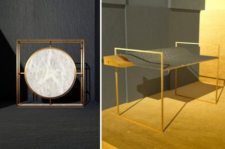 "Left: Gong by Giorgio Canale for Cereser, right: ""Kintsugi"" by Giorgio Canale for Tenax."