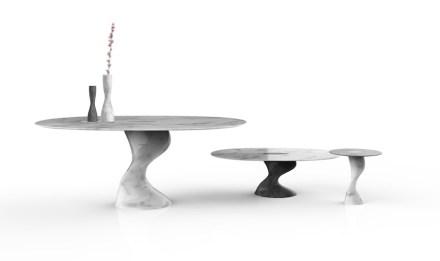 """Elic"" table and vase by Setsu & Shinobu Ito for GDA Marmi e Graniti."
