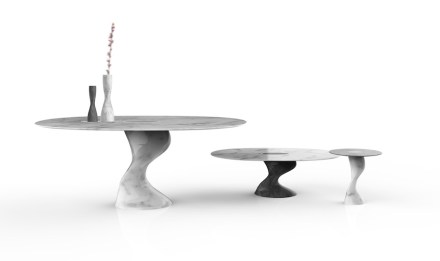 """Elic"" table and vase by Setsu & Shinobu Ito for GDA Marmi e Graniti."
