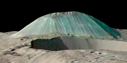 Volcanic dome Ahuna Mons rises above a foreground impact crater, as seen by Nasa's Dawn spacecraft with no vertical exaggeration. Eruptions of salty, muddy water built the mountain by repeated eruptions, flows, and freezing. Streaks from falls of rocks and debris run down its flanks, while overhead views show fracturing across its summit. Source: Science