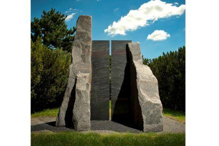 "Elyn Zimmerman, ""Portal Lethe"", 1992, granite, 123 x 96 x 81 inches, New Orleans Museum of Art, Gift of Donna Perret Rosen and Benjamin M. Rosen, Photo: Ken Ek."