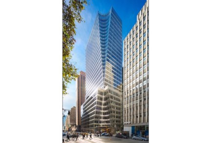Leitmotif of 7 Bryant Park is the hour glass. Geometrically speaking it is composed of two cones or pins meeting head to head at their narrowest point.