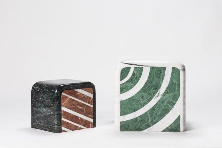 """""""A piece of marble"""": The beautiful pattern of marble is fascinating. Oriental people see landscape and story from marble. After rearranging marble into geometric patterns and various colors, the implication of marble extends. The object reminds viewers of food imageries. The glossy surface is like the icing of a cake, and the sides demonstrate its rich layers. Depending on the viewers' state of mind, one may see different things from the same piece of work. So, what do you see? Designer: Hua Wu; manufacturer: Shinying Enterprise Co., Ltd. / Chia-Tai Marble Co., Ltd.; material: Serpentinite, Taiwanese white marble."""
