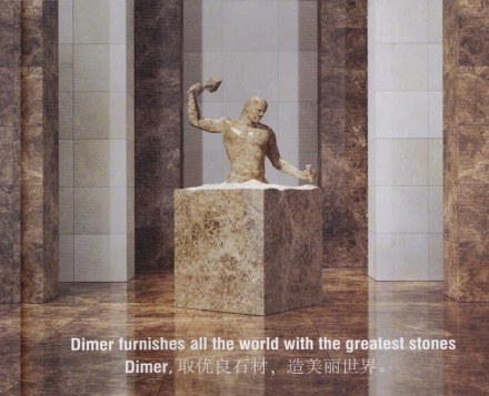 """The stone sector is reinventing itself"" could be the message of this picture. It is a detail from an advert by Turkish company Dimer."